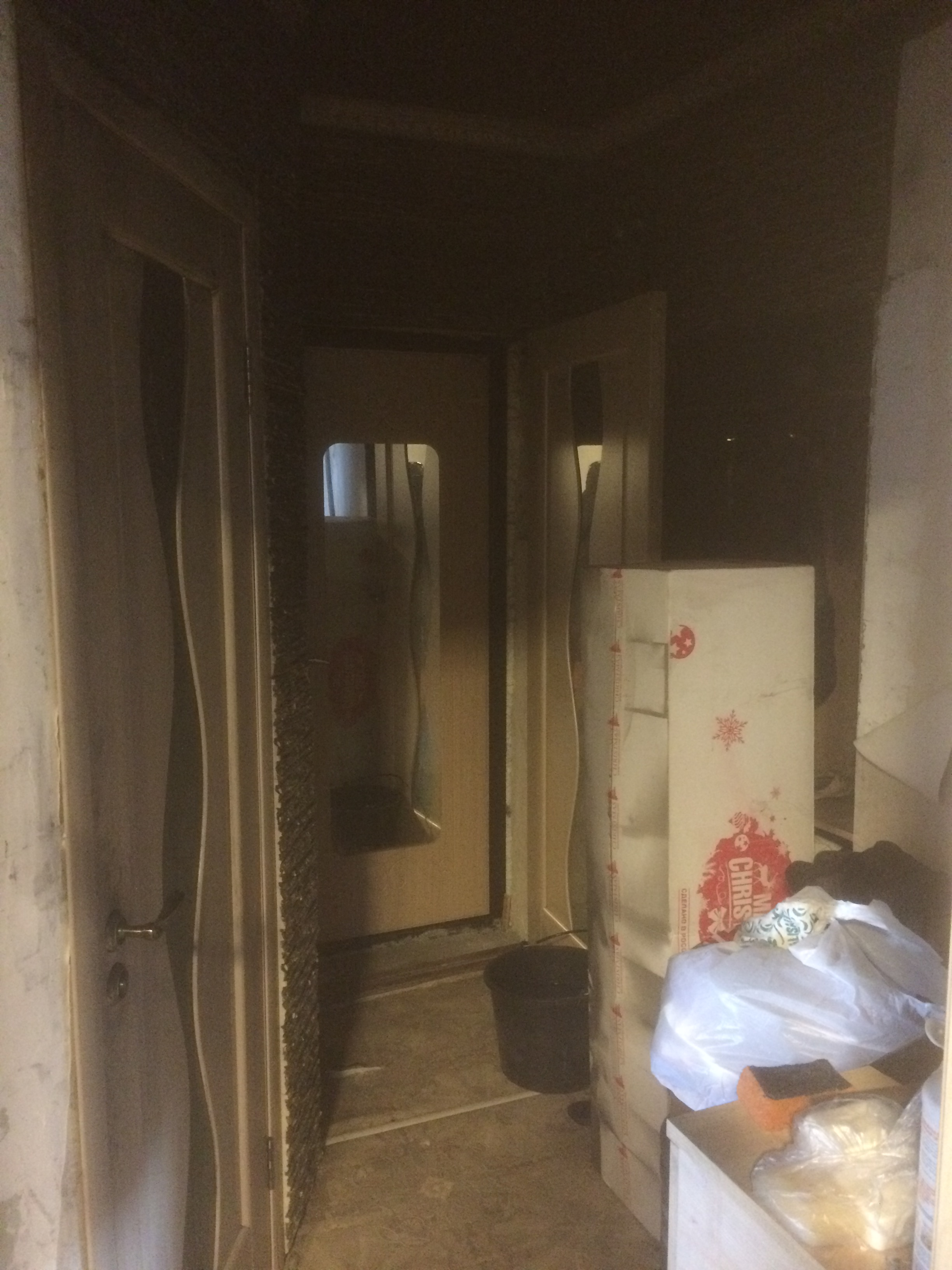 коридор после пожара ремонт квартир в Севастополе
